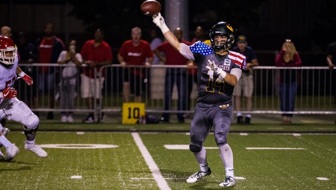 Wayne State quarterback D.J. Zezula passed for 191 yards and three touchdowns in the win over Saginaw Valley State on Saturday, Sept. 16, 2017, at Tom Adams Field.