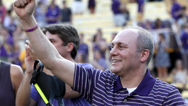 House Republican Whip Steve Scalise attends the Louisiana State University Tigers vs Troy Trojans game at Tiger Stadium on Sept. 30, 2017 in Baton Rouge, La.