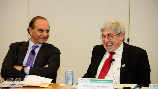On left is Farooq Kathwari, President and CEO of Ethan Allen Furniture and co-chair of the National Muslim-Jewish Advisory Council, and Stanley Bergman, CEO of Henry Schein, and co-chair of the council.