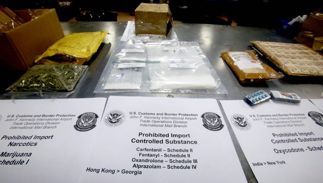 Packages containing fentanyl and the even more lethal carfentanil are among the illegal drugs stored Sept. 8, 2017, in the detention room at the John F. Kennedy International Airport Mail Facilities Federal Inspection Site after being discovered by U.S. Customs and Border Protection officers.