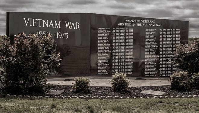 Engraved into the stone are the names of the 65 soldiers from Vanderburgh county killed during the conflict in Vietnam.  The memorial includes the name of Leonard Wayne Lockard, the first person from Evansville to die in the war.