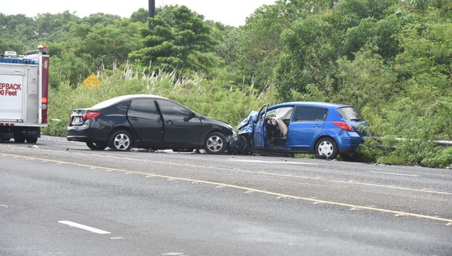 A two-car accident on Route 3 is shown in this file photo.