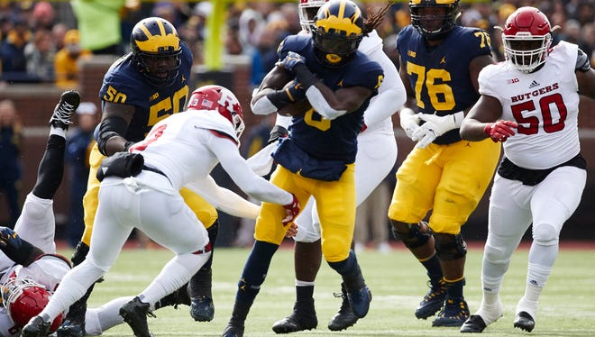 Kareem Walker (6) rushed for 34 yards and a touchdown against Rutgers last season.