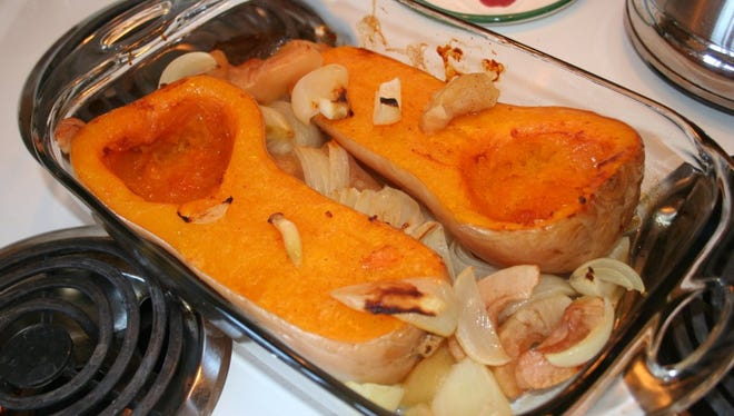 Oven-roasted butternut squash destined for an autumn soup kettle.