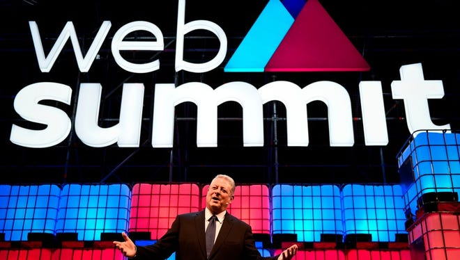 Generation Investment Management's chairperson Al Gore delivers a speech during the 2017 Web Summit in Lisbon on November 9, 2017. Concerns about eroding privacy on Internet-connected devices ran high this year.