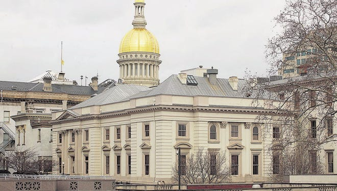 The capitol dome and the back of the New Jersey State House in Trenton.