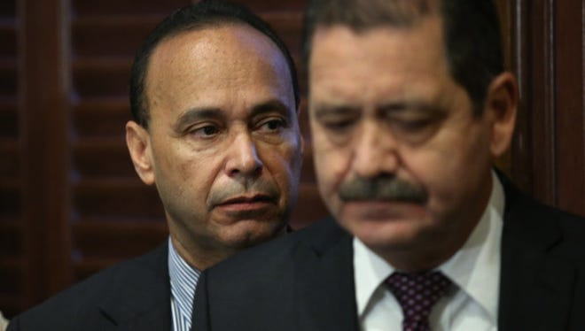 "With Cook County Board Commissioner Jesús ""Chuy"" García (R) by his side, U.S. Representative Luis Gutiérrez (D-IL) announces he will retire from congress at the end of his current term during a press conference on November 28, 2017 in Chicago, Illinois. Gutierrez has endorsed Garcia to replace him. Gutierrez has represented Illinois' 4th congressional district since 1993."