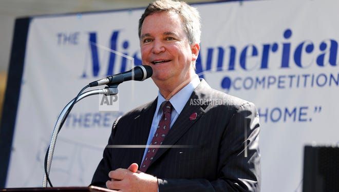 In this Aug. 30, 2016, file photo, Sam Haskell CEO of Miss America Organization, speaks during Miss America Pageant arrival ceremonies in Atlantic City. Haskell and others from the Miss America Organization resigned Saturday amid an email scandal.
