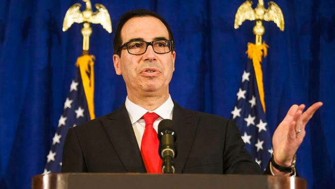 In this Sept. 21, 2017, file photo, Treasury Secretary Steve Mnuchin speaks at a news briefing at the Hilton Midtown hotel during the United Nations General Assembly, in New York.