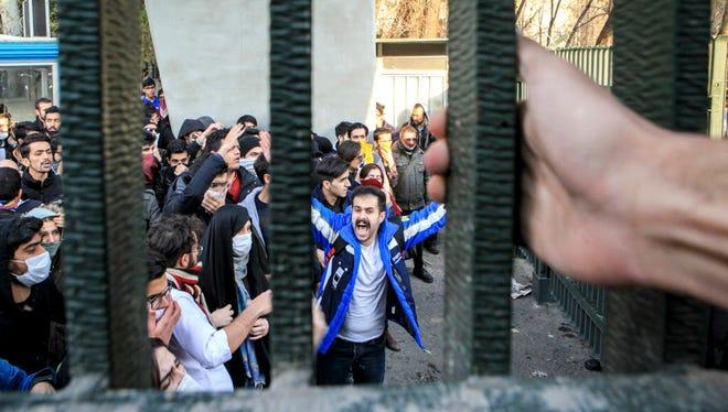 Protest in Tehran, Iran, on Dec. 30, 2017.