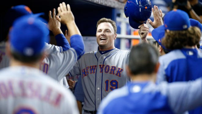 Jay Bruce reacts after hitting a home in Miami last season.