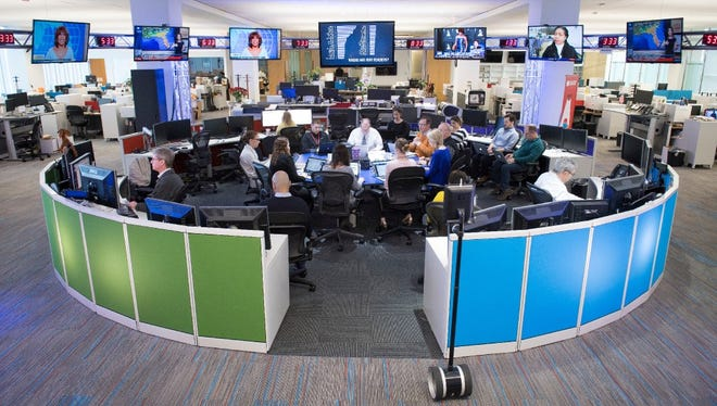 The USA TODAY Newsroom Hub during a morning meeting.