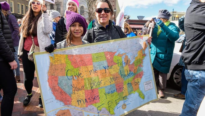Crowds gather at Pack Square Park for the Women's March in Asheville on Jan. 20, 2018.