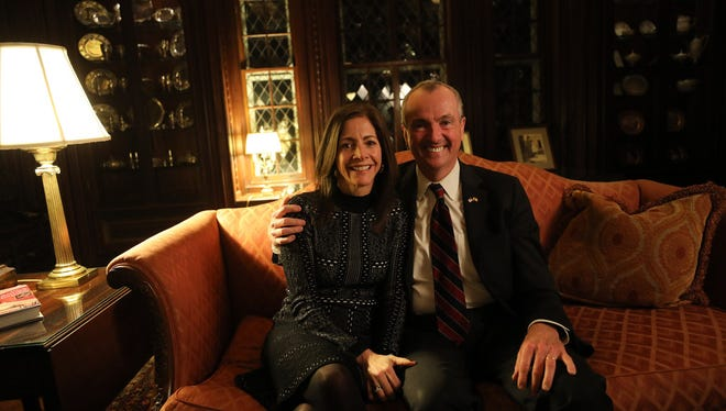 Tammy Murphy and her husband, Gov. Phil Murphy, in the library of the governor's residence at Drumthwacket on Jan. 31.