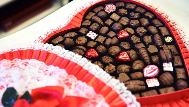 A large box of Valentine gift chocolate