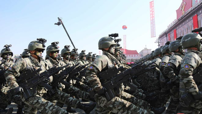 North Korean soldiers march during a military parade earlier this month in a photo provided by the North Korean government.