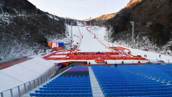 South Korea; View of the empty seats at Jeongseon Alpine Centre during a weather delay for men's downhill training in alpine skiing.