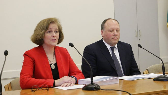Democratic Sens. Christine Rolfes and David Frockt speak to the media about a supplemental budget proposal in Olympia, Wash. on Monday, Feb. 19, 2018. The proposal looks to use a projected state revenue increase to pay for the final component of an education spending plan.