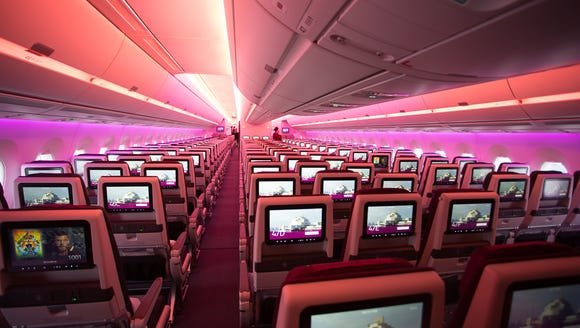 Qatar Airways' economy class cabin, seen aboard the