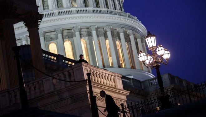 Lawmakers arrive at the U.S. House of Representatives to vote on the continuing resolution to fund the federal government Jan. 22, 2018, in Washington, D.C.