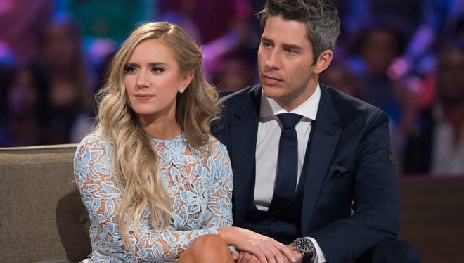 "his image released by ABC shows Lauren Burnham, left, and Arie Luyendyk Jr. on ""The Bachelor: After the Final Rose."" Luyendyk says he's willing to take the heat for dumping Becca Kufrin to find true love with runner-up Lauren Burnham. His decision to break up with Kufrin during Monday's season finale after they'd become engaged prompted such descriptive headlines as ""horror,"" ""brutal"" and ""gut-wrenching."""