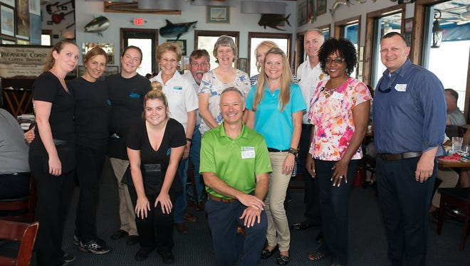Pictured are, top row, from left, Chuck's Seafood Restaurant staff, St. Lucie County Commissioner Frannie Hutchinson, School Board Member Debbie Hawley, Public Schools Chief Communications Officer Kerry Padrick, St. Lucie Fire Chief Buddy Emerson. Bottom row, from left, Tax Collector Chris Craft, County Property Appraiser Michelle Franklin, School Board member Dr. Donna Mills and Fort Pierce Commissioner Jeremiah Johnson at the second annual Local Celebrity Lunch benefiting Donate Life Florida on Aug. 2, 2017 at Chuck's Seafood Restaurant in Fort Pierce.