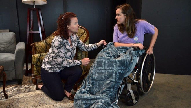 Theresa Davis, as Trace, convinces her best friend's paralyzed daughter, Casey (Juliette Pfeiffer), that she will walk.
