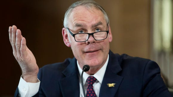 Interior Secretary Ryan Zinke testifies March 13, 2018, at the Senate Energy and Natural Resources Committee hearing in Washington, D.C.