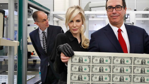 Treasury Secretary Steven Mnuchin, right, and his wife