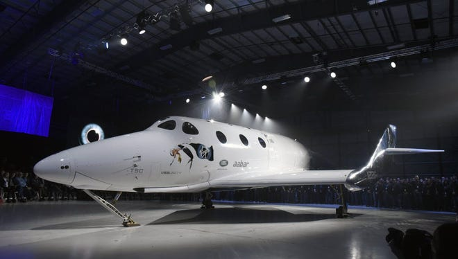 Virgin Galactic SpaceShipTWO is presented at an unveiling ceremony in Mojave, California, February 2016.