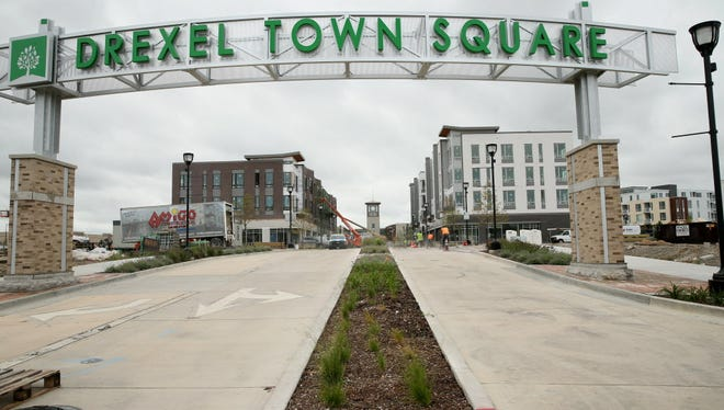 August 24, 2016 Photographs from the Drexel Town Square development in Oak Creek.  Here the sign above an entrance on Drexel Ave near S.6th St.