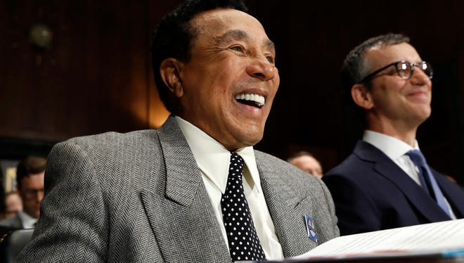 Music legend Smokey Robinson testifies before the Senate Judiciary Committee in favor of the Music Modernization Act on Tuesday, May 15, 2018. At right is National Music Publishers Association President and CEO David Israelite.