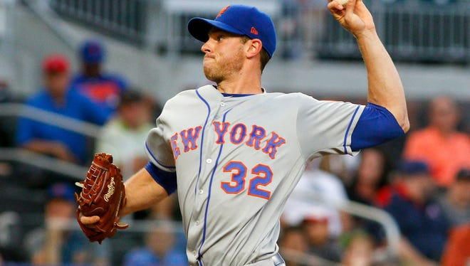 May 29, 2018; Atlanta, GA, USA; New York Mets starting pitcher Steven Matz (32) throws a pitch against the Atlanta Braves in the first inning at SunTrust Park.