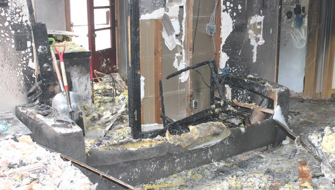 Damages from a fire are captured in a photo. No one was hurt after a fire broke out on the second floor of a duplex in the 8600 block of Stickney Avenue.