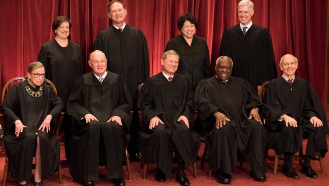 The Supreme Court. Seated from left: Ruth Bader Ginsburg, Anthony M. Kennedy, Chief Justices John G. Roberts, Clarence Thomas and Justice Stephen Breyer.  Standing behind from left, Elena Kagan, Samuel Alito Jr., Sonia Sotomayor and Neil Gorsuch. Washington, D.C., June 1, 2017.