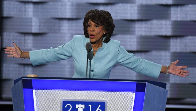 Rep. Maxine Waters, D-Calif., addresses the Democratic National Convention in 2016.