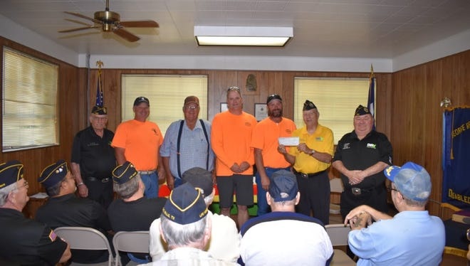 Beastfeast crew presenting a check to DAV Ch. 41 on this year's successful cook-off. Funds will benefit area veterans in North Texas.  Left to Right: Larry Main, Bradley Vieteheimer, John Vieteheimer, Steve Zotz, Mike Williams, and Charles Kernott.