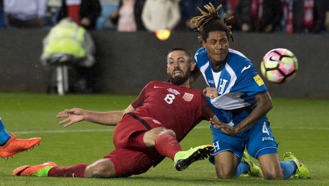 Clint Dempsey, forward for the U.S. men's soccer team, scores a goal against Honduras in San Jose, California on March 24, 2017.