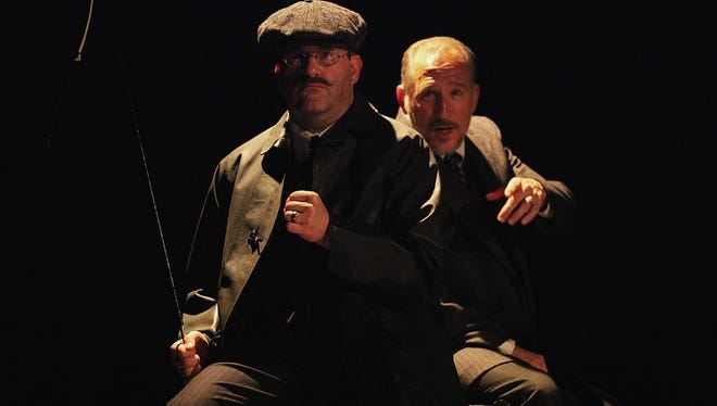 "Jay Benson (front) and Matt Dentino (back) in Falcon Theatre's ""Woman in Black."""