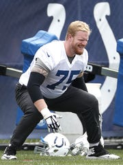 Indianapolis Colts offensive tackle Jack Mewhort (75)