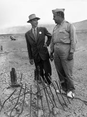 "Dr. J. Robert Oppenheimer was the director of Los Alamos Laboratory and the ""father of the bomb,"" while Major Gen. Leslie Groves served as the military leader of the Manhattan Project - the code name for the American-led effort to develop an atomic bomb."