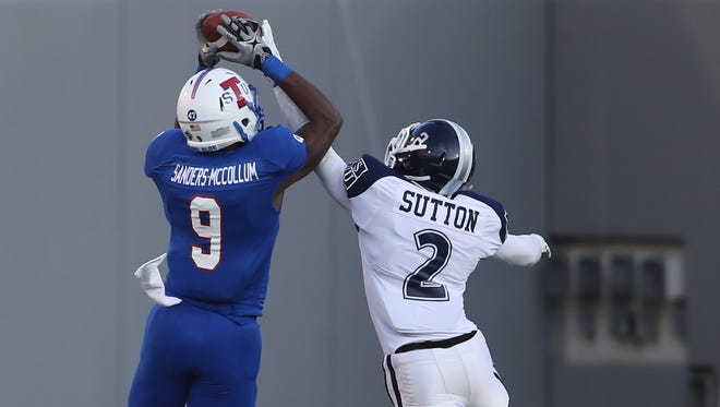 Jackson State cornerback Antonio Sutton tries to defend a pass in a game against Tennessee State in Memphis.