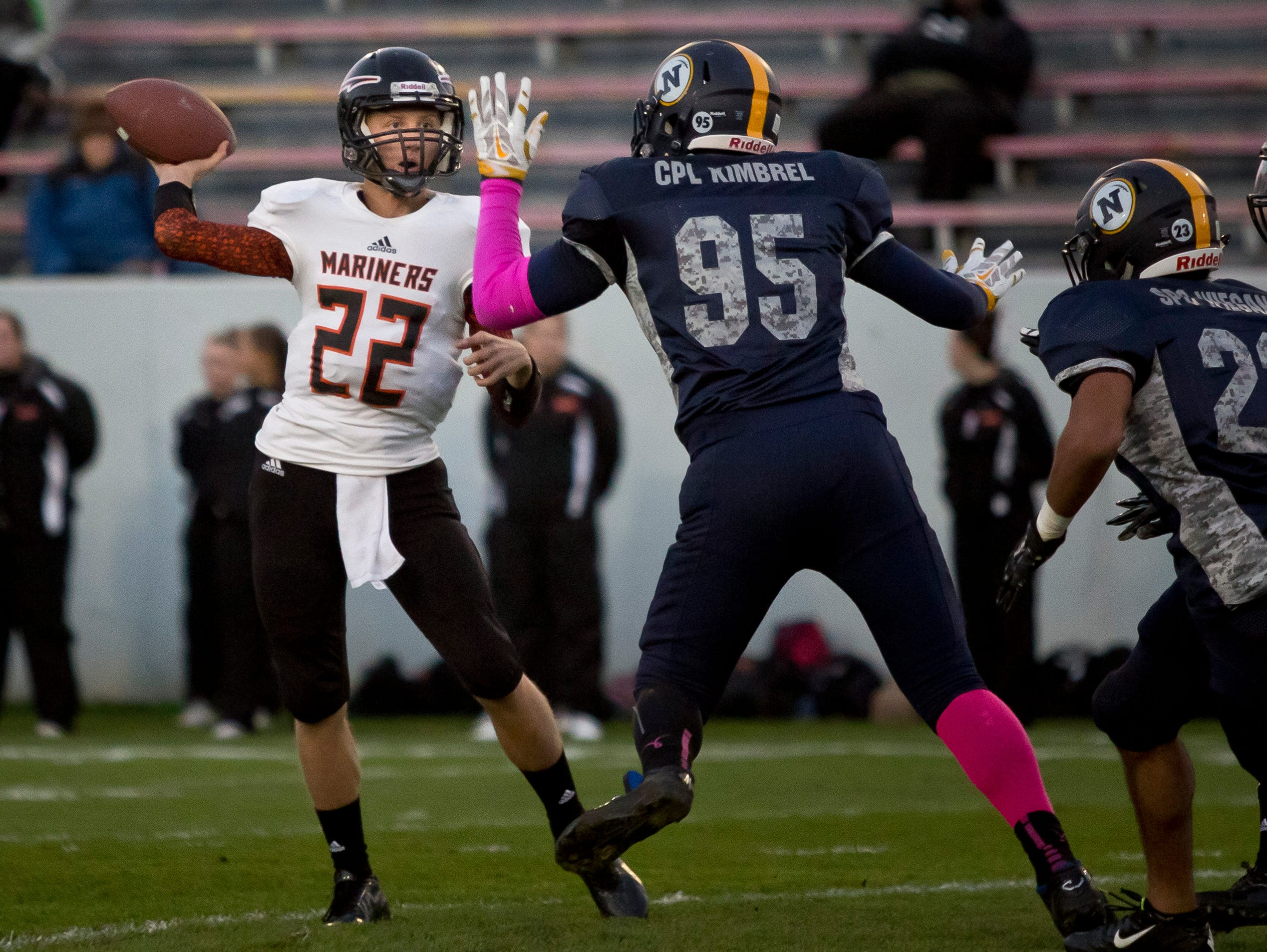 Marine City junior Kohle Sobol throws a pass during a football game Friday, October 9, 2015 at Memorial Stadium in Port Huron.