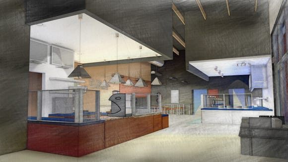 This rendering shows what Professor Bob Bean's Coffee Bar and Nitrogen Ice Cream Lab will look like. The new coffee and ice cream shop is set to open in a few months in the Ambassador Town Center anchored by Costco.