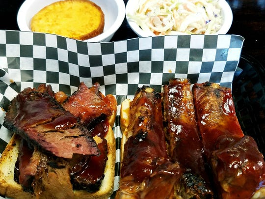Smokies' Two Meat Combo was brisket and ribs served