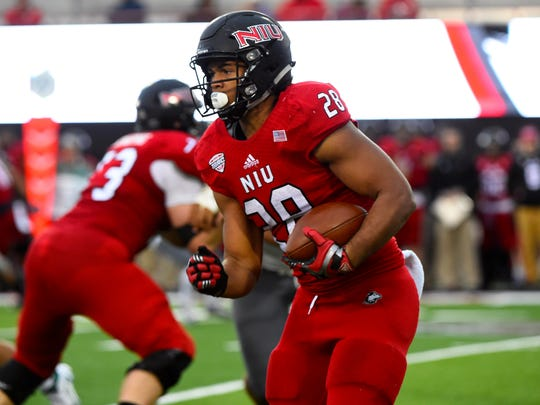 Northern Illinois running back Joel Bouagnon rushed for 1,285 yards and 18 touchdowns last season for the Huskies.