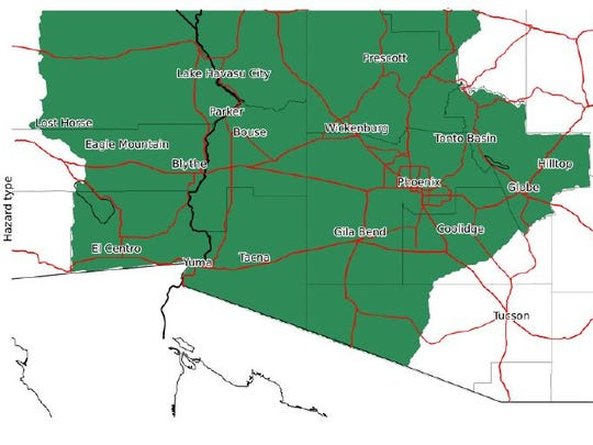Flash Flood watch area for Oct. 1-2, 2018 from the