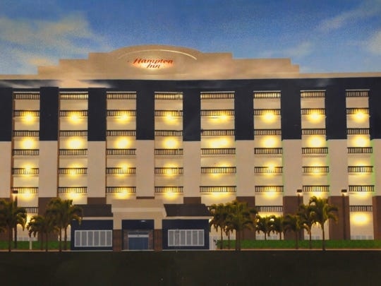 Artist's rendering of the front side of the hotel.