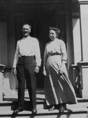 Joseph and Emma Bauman, the grandparents of Jim Bauman, standing in front of the farmhouse on the property in this circa 1914 photo.