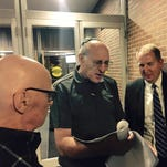 From left: Irving Ginsberg of Farmignton Hills and Eugene Greenstein of Farmington Hills talk with Paul Irwin, a director of non-proliferation with the National Security Council who worked on the Iran deal, outside Congregation Shaarey Zedek in Southfield, on Sept. 3, 2015.